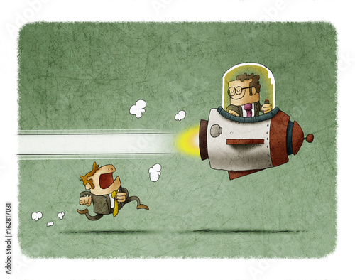 Competition between business people, one goes inside a rocket and another goes running Wallpaper Mural