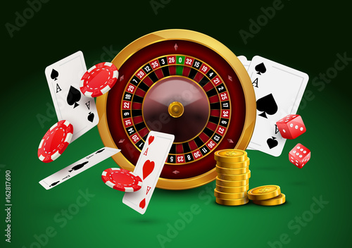 Photo  Casino roulette with chips, red dice realistic gambling poster banner