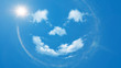 canvas print picture - Sommer Hintergrund - blauer Himmel mit Wolken und Sonne als positiver lachender Smiley