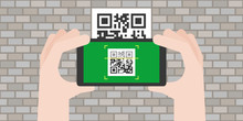 Hand Holding Smart Phone Scanning Qr Code On The Old Wall, Flat Design Vector For Business And Technology Concept