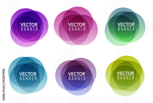 Valokuva  Set of colorful round abstract banners overlay shape