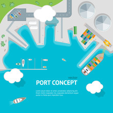 Cartoon Port Town And Barge Ship Concept Banner Card. Vector
