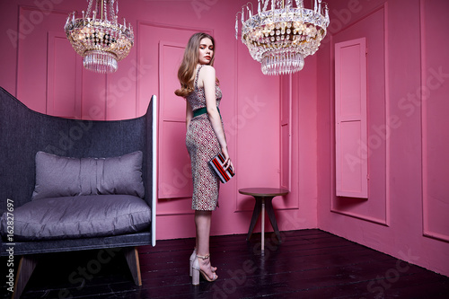 Obraz Sexy lady wear clothes for office style casual meeting party cotton dress with belt accessory bag jewelry cosmetic face makeup beautiful woman interior design room pink wall crystal chandelier sofa. - fototapety do salonu
