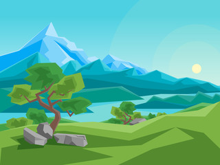 Fototapeta samoprzylepna Cartoon Summer Mountain and River on a Landscape Background. Vector
