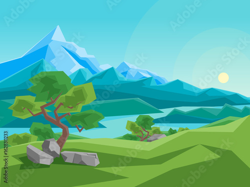Tuinposter Turkoois Cartoon Summer Mountain and River on a Landscape Background. Vector