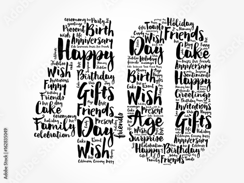 Fotografia  Happy 40th birthday word cloud collage concept