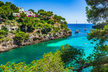 Picturesque Seascape Bay With Boats, Spain Mediterranean Sea, Balearic Islands