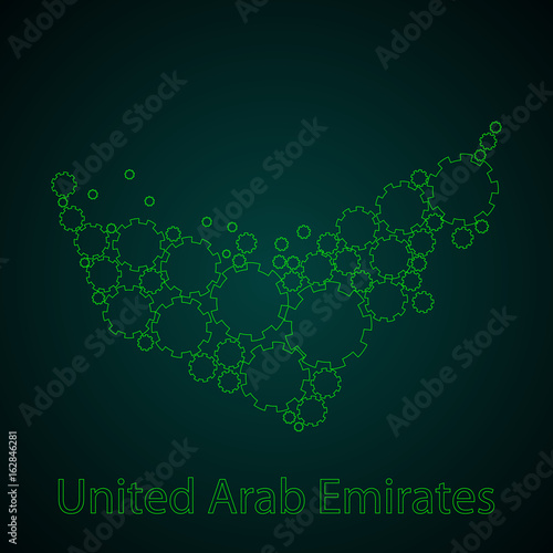 Photo  United Arab Emirates vector map, abstract background.
