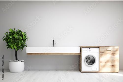 Fotografie, Obraz  Gray laundry room, sink, washing machine