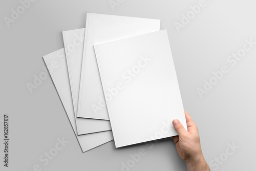 Fotografie, Obraz  Blank A4 photorealistic brochure mockup on light grey background