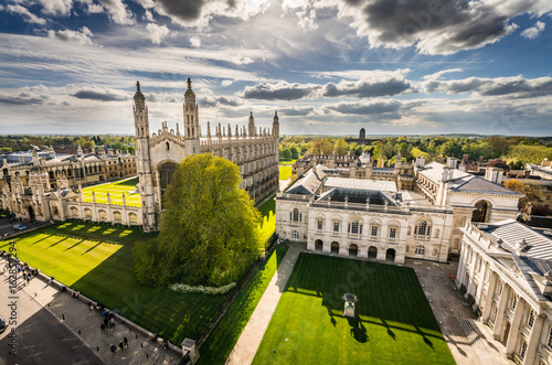 Fototapeta High angle view of the city of Cambridge, UK at beautiful sunny day obraz