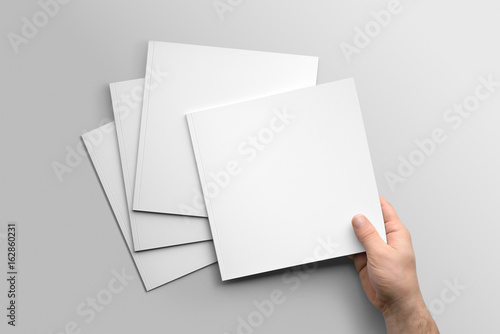 Fotografie, Obraz  Blank square photorealistic brochure mockup on light grey background