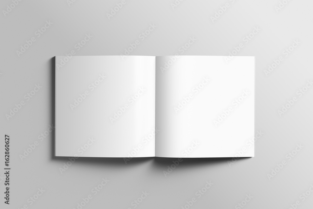 Fototapety, obrazy: Blank square photorealistic brochure mockup on light grey background.