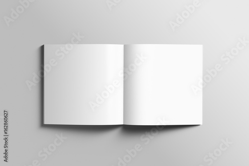 Fotomural Blank square photorealistic brochure mockup on light grey background