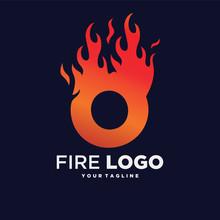 Letter O Fire Logo Design Temp...