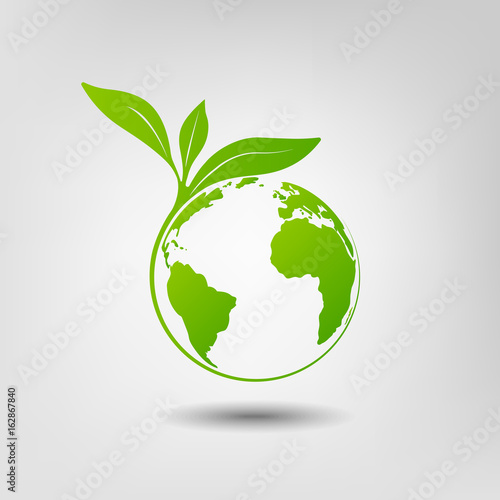 Canvas Print World environmental saving and ecology friendly concept