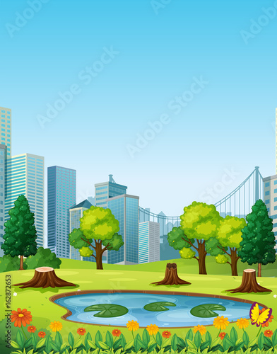 Photo Stands Kids City scene with park and buildings