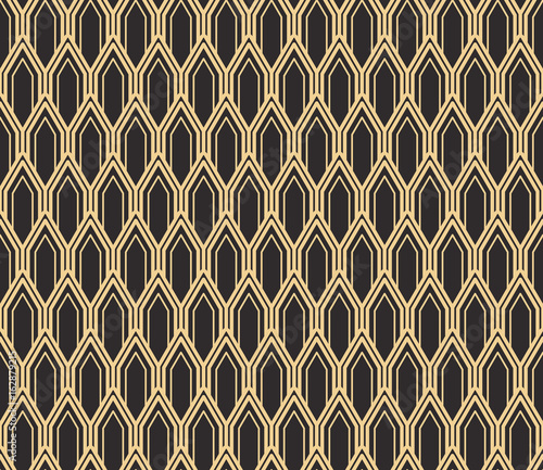 plakat Seamless antique palette black and gold art deco vintage rounded pillars pattern vector