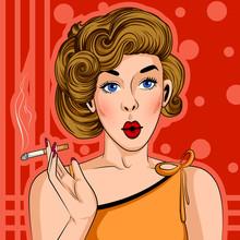 Pop Art Style Retro Lady Smoki...
