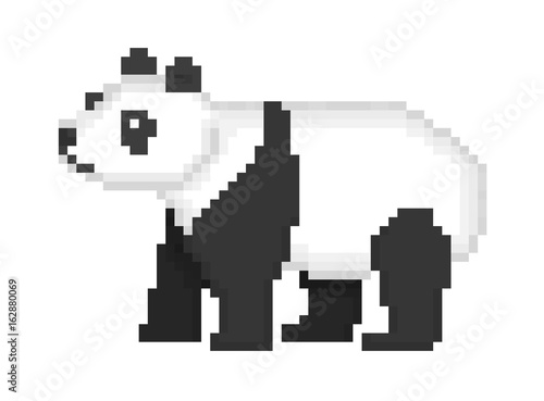 Old School 8 Bit Pixel Art Black And White Giant Banda Bear Standing