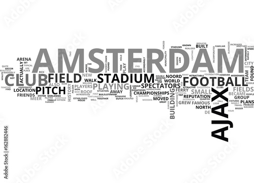 AJAX AMSTERDAM AND ITS STADIUMS TEXT WORD CLOUD CONCEPT Wallpaper Mural