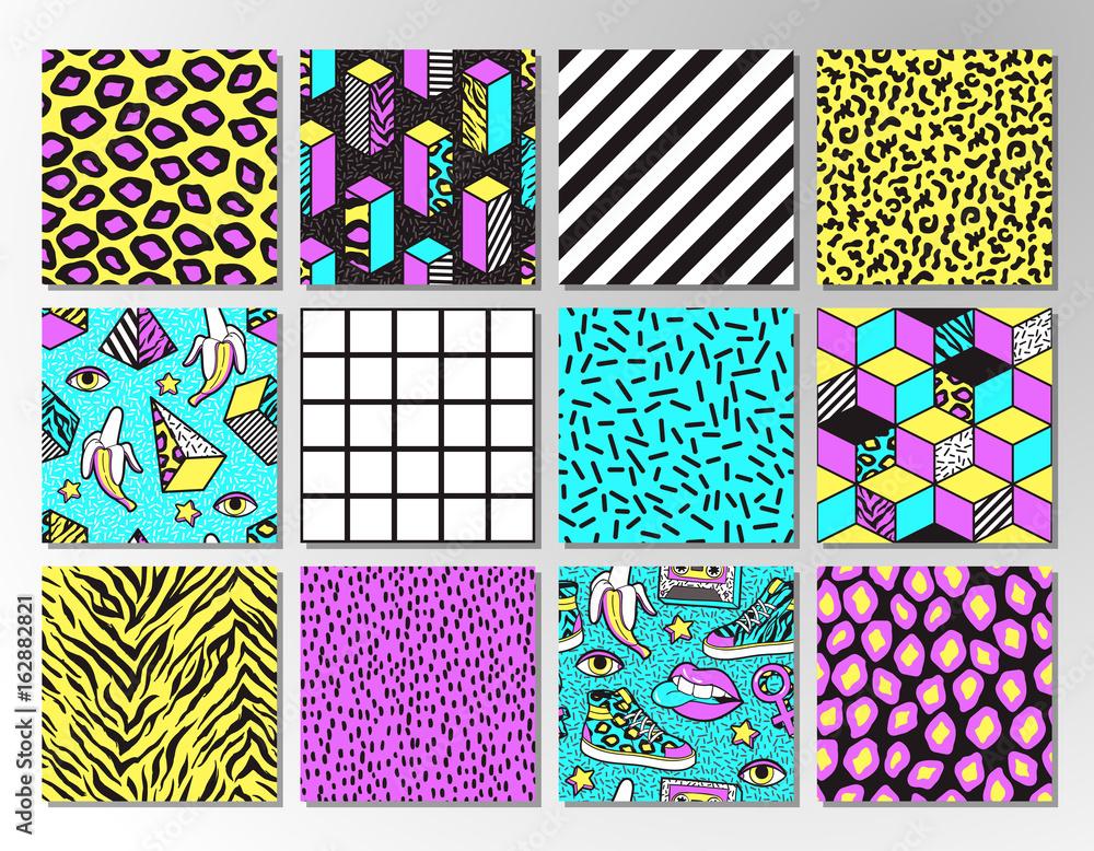 Fototapeta Set of seamless patterns in 80s-90s memphis style.