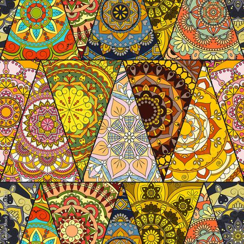 Foto auf AluDibond Boho-Stil Seamless mandalas pattern. Vintage decorative elements with mandala. Hand drawn mandala background. Islam, Arabic mandala, Indian, mandala ottoman motifs. Perfect for printing on fabric or paper.