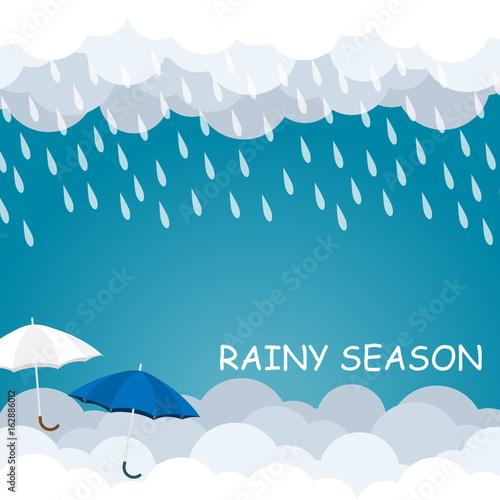 rainy season umbrella float on sky vector Fotobehang