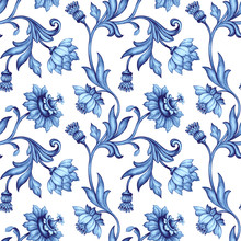 Seamless Floral Pattern, Medieval Background, Watercolor Hand Painted Illustration, Blue Flowers And Leaves, Delft, Indigo, Vintage Botanical Wallpaper