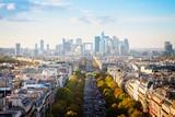 Fototapeta Fototapety Paryż - skyline of Paris city towards La Defense district, France, retro toned
