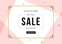 Sale Sign Design In Contemporary Style. Vector Illustration.