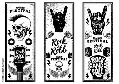 Photo Rock and roll party flyers template