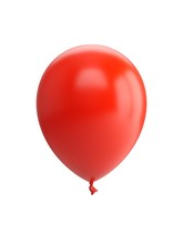 3D Rendering Red Balloon Isola...