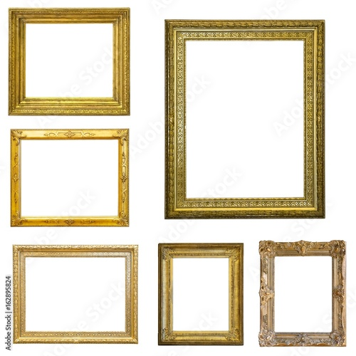 Fototapeta Set of gilded (gold)  frames isolated on white obraz na płótnie
