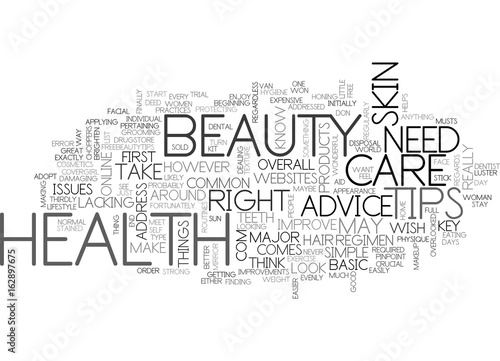 BEAUTY AND HEALTH TIPS TEXT WORD CLOUD CONCEPT - Buy this