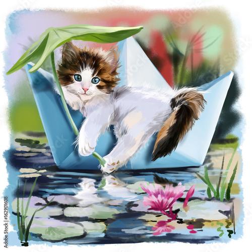 Kociak w łodzi papieru pływające po stawie