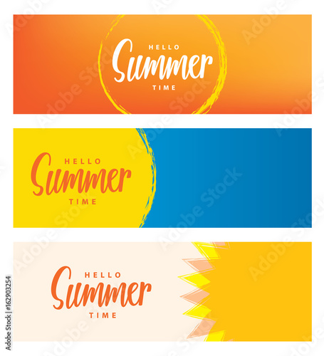 Hello summer time heading 3 design for banner or poster. Summer event concept. Vector illustration. Fototapete
