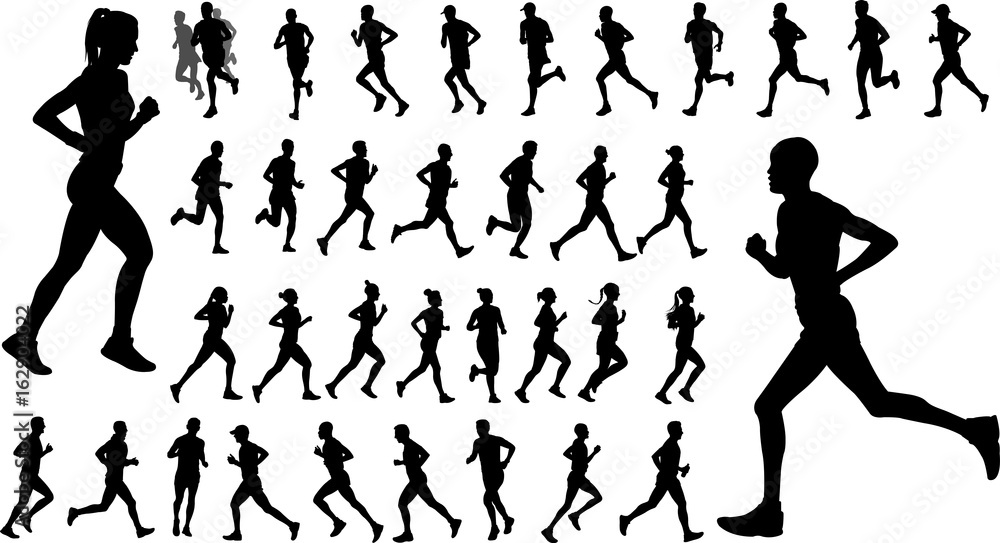 Fototapety, obrazy: runners silhouettes collection