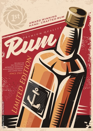 Award winning hand crafted rum, retro poster design template with rum bottle on Wallpaper Mural