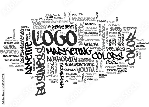 Fotografia  WHAT DOES YOUR LOGO COLOR SAY ABOUT YOUR BUSINESS TEXT WORD CLOUD CONCEPT