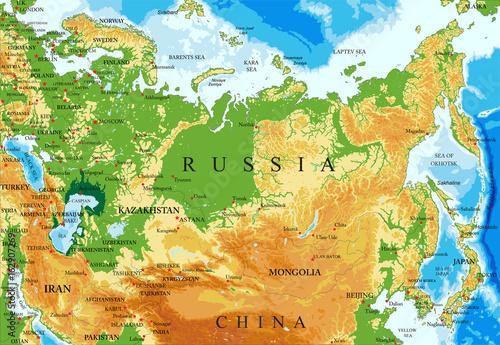 Obraz na plátně Russia relief map
