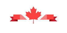 Maple Leaf Logo And Ribbon Banner Isolated On White. Icon Vector Red Color Of The Canadian Flag. For Canada Day Greeting Card, Poster, Placard Design.