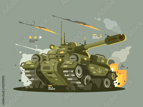 Photo Military tank in fire