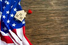 America Flag On Wood Vintage B...