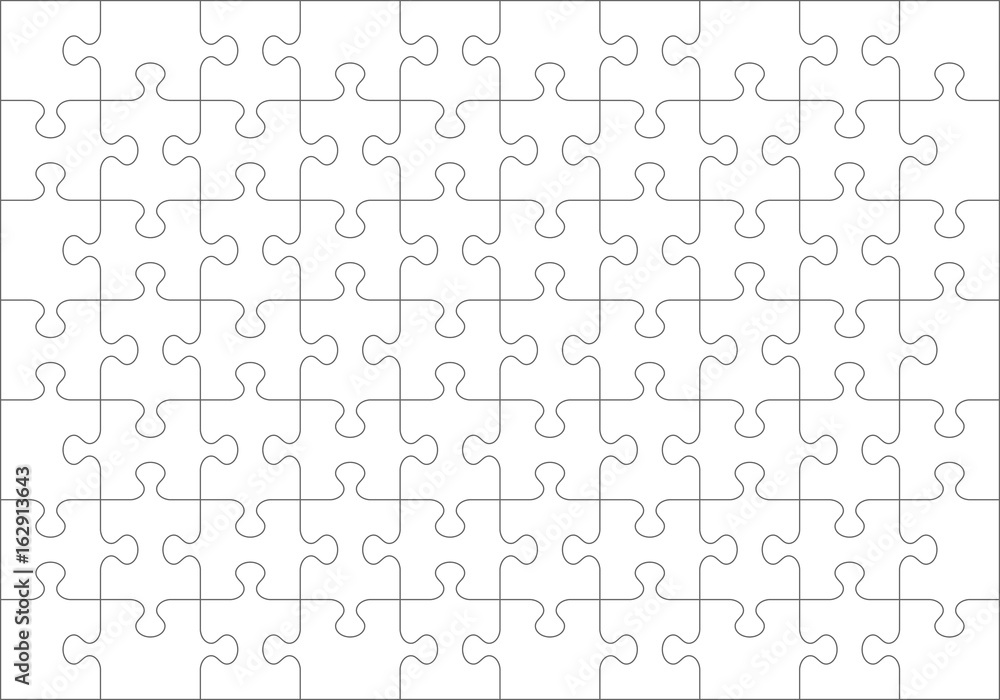 Fototapeta Jigsaw puzzle blank template or cutting guidelines of 70 transparent pieces. Classic style pieces are easy to separate (every piece is a single shape).