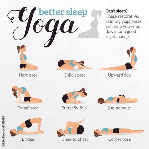 Fotografie, Obraz  Yoga poses for better sleep
