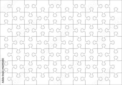 Fotografie, Obraz  Jigsaw puzzle blank template or cutting guidelines of 70 transparent pieces