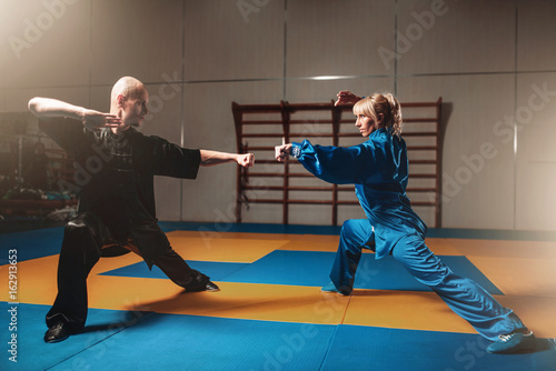 фотографія  Male and female wushu fighters exercises indoor