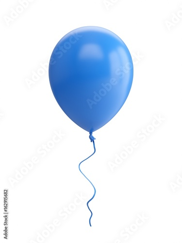 Fotografia 3D Rendering blue Balloon Isolated on white Background