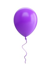 3D Rendering Purple Balloon Isolated On White Background